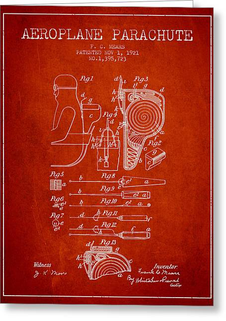 Aeroplane Parachute Patent From 1921 - Red Greeting Card by Aged Pixel
