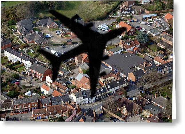 Aeroplane Shadow Over Houses Greeting Card by Victor De Schwanberg