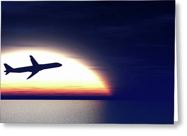 Aeroplane Taking Off At Sunset Greeting Card by Wladimir Bulgar