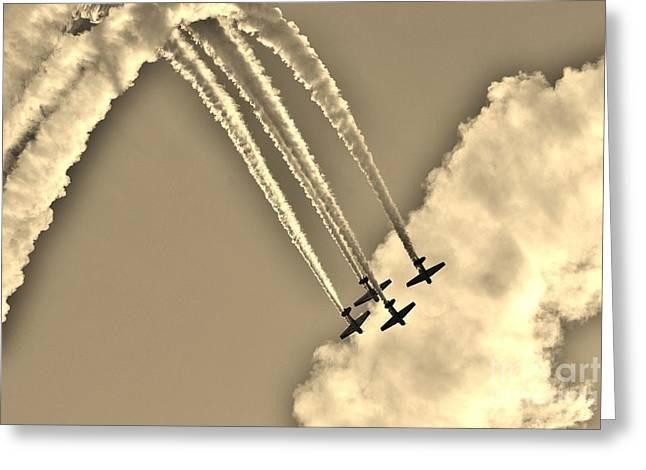 Aeroshell Aerobatic Team In Sepia  Greeting Card by Lynda Dawson-Youngclaus