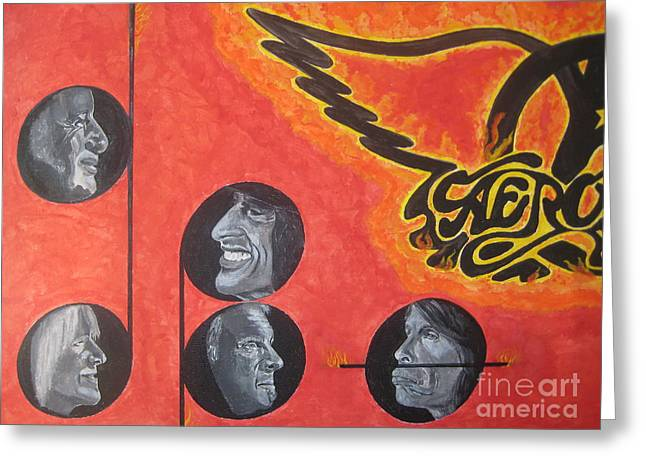 Aerosmith Art Painting 40th Anniversary Greeting Card by Jeepee Aero