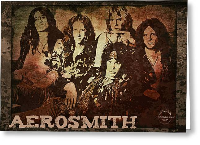 Aerosmith - Back In The Saddle Greeting Card by Absinthe Art By Michelle LeAnn Scott