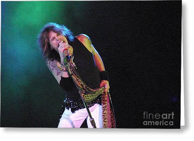 Aerosmith - Steven Tyler -dsc00139-1 Greeting Card by Gary Gingrich Galleries