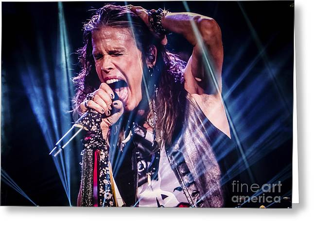 Aerosmith Steven Tyler Singing In Concert Greeting Card