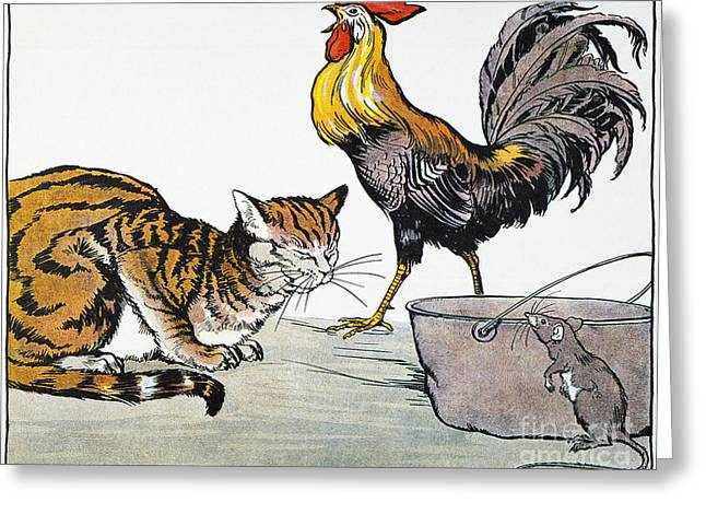 Aesop: Cat, Cock, And Mouse Greeting Card by Granger