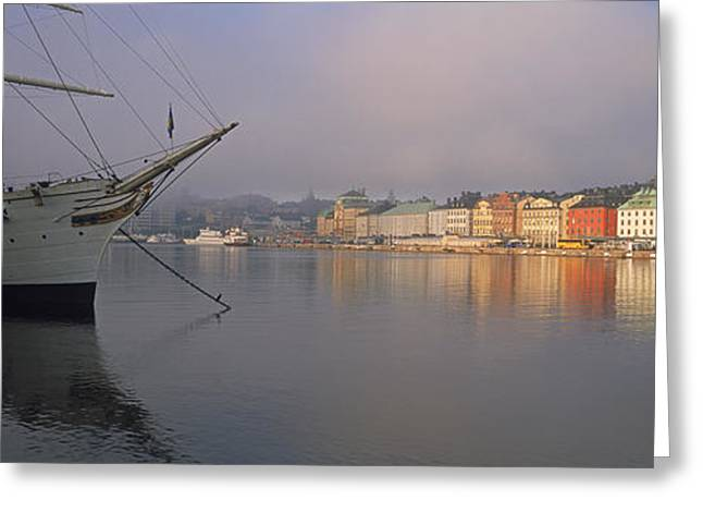 Af Chapman Schooner At A Harbor Greeting Card by Panoramic Images
