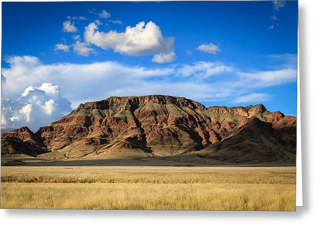 Aferican Grass And Mountain In Sossusvlei Greeting Card