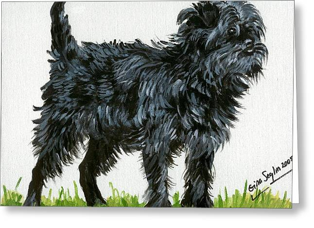 Affenpinscher Dog Greeting Card by Olde Time  Mercantile