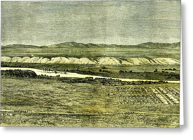Afganistan Near Tirpul 1885 The Camp Of The Afghan Boundary Greeting Card by English School