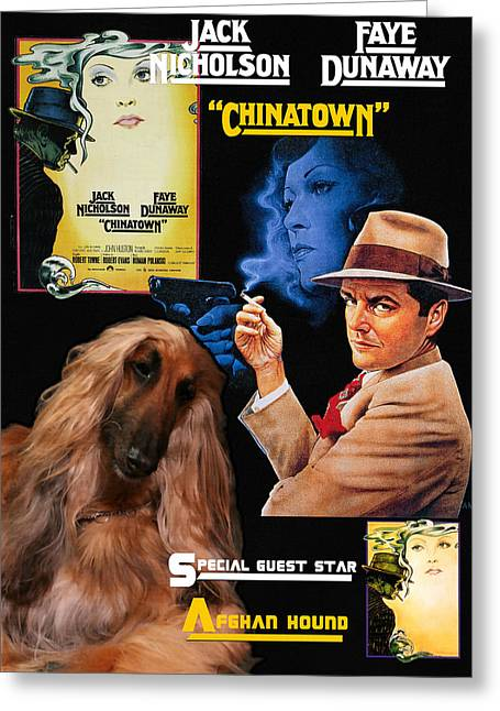 Afghan Hound Art - Chinatown Movie Poster Greeting Card by Sandra Sij