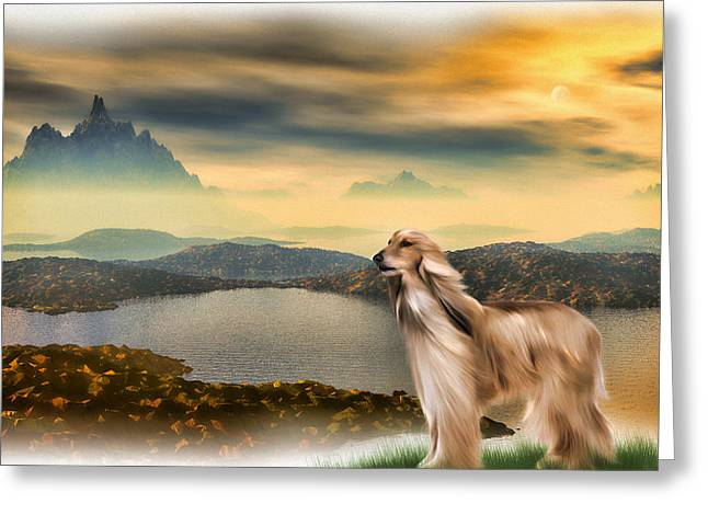 Greeting Card featuring the painting Afghan Hound by Tyler Robbins