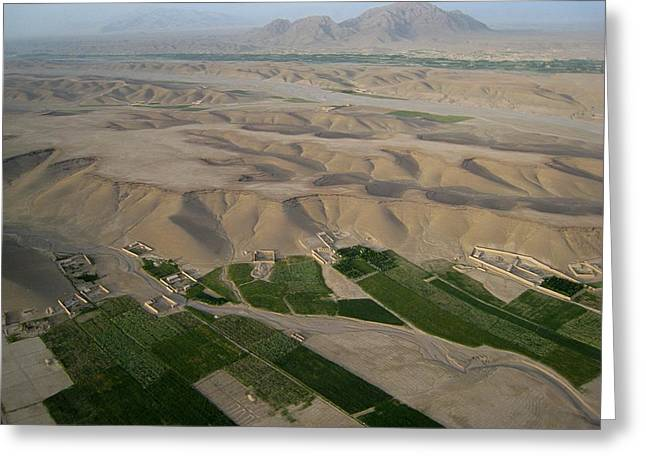 Afghan Village From The Air In Helmand Province Greeting Card