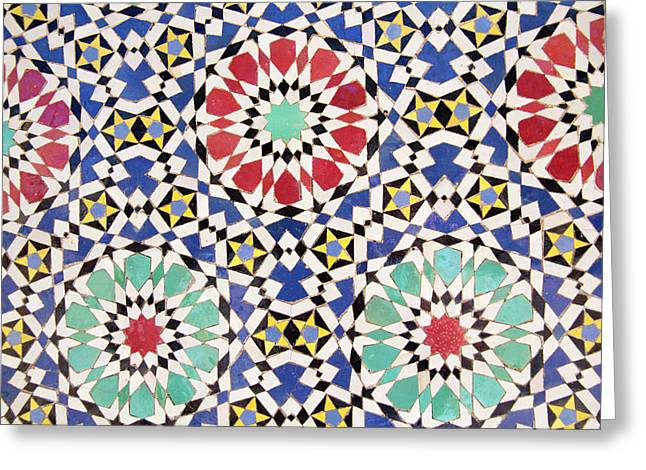 Africa, Morocco, Fes, Fes Medina, Tiles Greeting Card by Emily Wilson