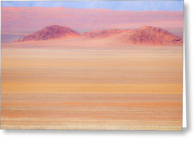 Africa, Namibia Heat Distorts Grassy Greeting Card by Jaynes Gallery