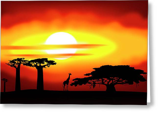 Africa Sunset Greeting Card