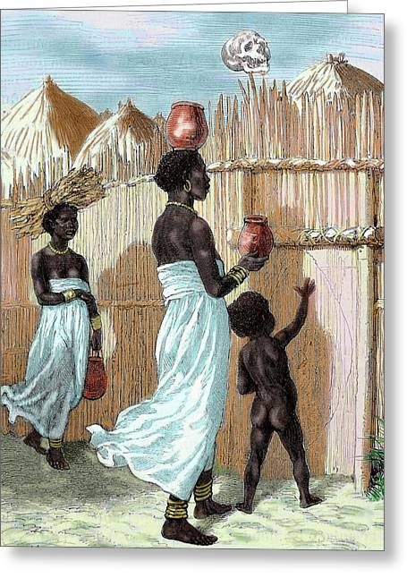 Africa Two Women And A Child Entering Greeting Card