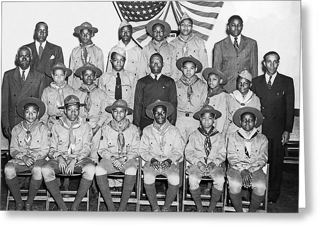 African American Boy Scouts Greeting Card by Underwood Archives