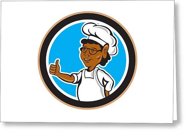 African American Chef Cook Thumbs Up Circle Greeting Card by Aloysius Patrimonio