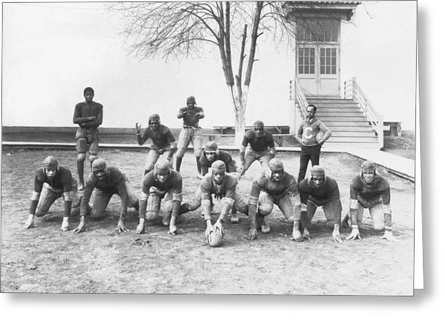 African American Football Team Greeting Card by Underwood Archives