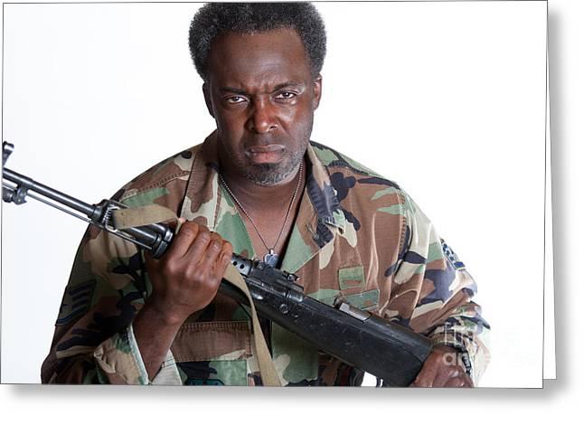 African American Man With Gun Greeting Card by Gunter Nezhoda