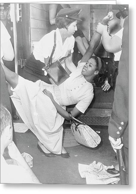 African American Woman Being Carried Greeting Card by Stocktrek Images