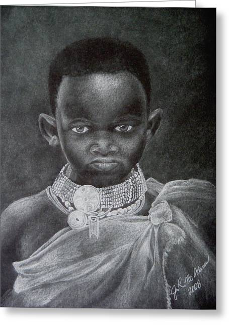 Greeting Card featuring the drawing African Boy by James McAdams