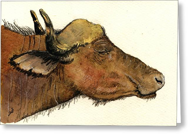 African Buffalo Head Greeting Card by Juan  Bosco