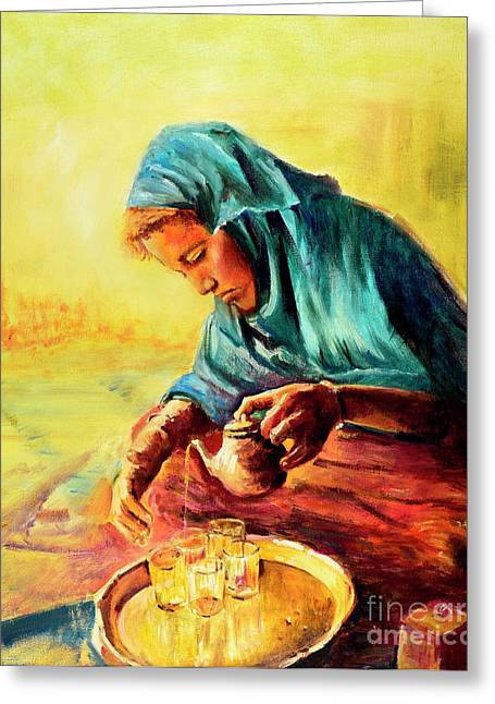 Greeting Card featuring the painting African Chai Tea Lady. by Sher Nasser