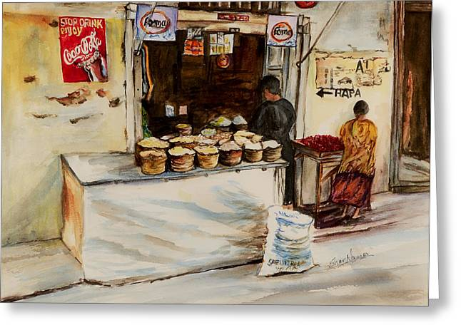 Greeting Card featuring the painting African Corner Store by Sher Nasser