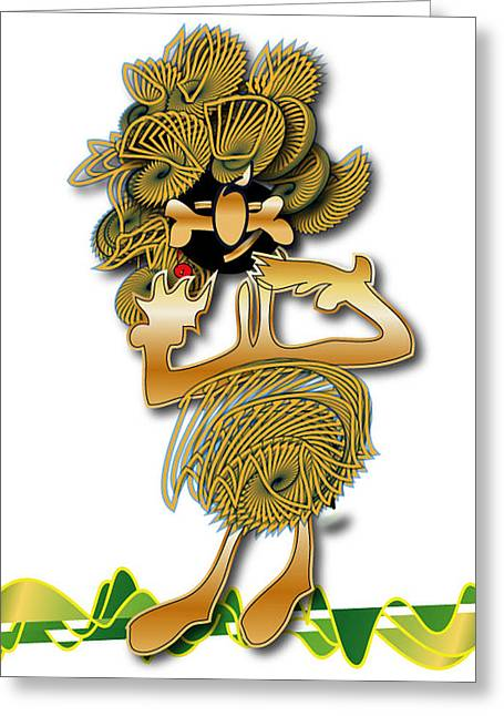 Greeting Card featuring the digital art African Dancer With Bone by Marvin Blaine
