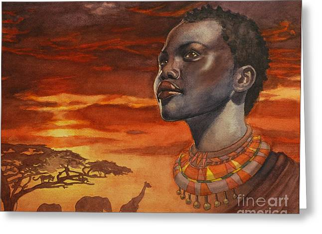 African Dream Greeting Card by Isabella Kung