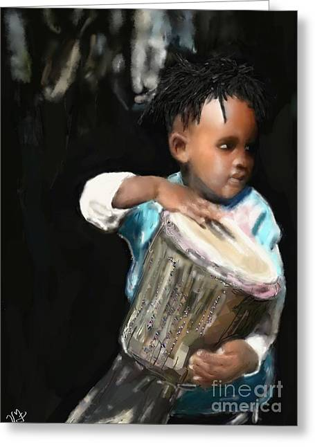 Greeting Card featuring the painting African Drummer Boy by Vannetta Ferguson