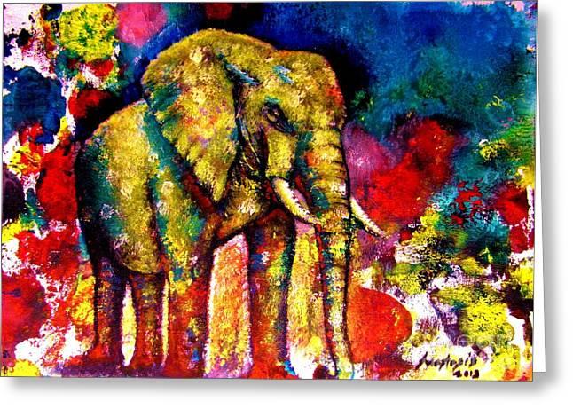 African Elephant Greeting Card by Anastasis  Anastasi
