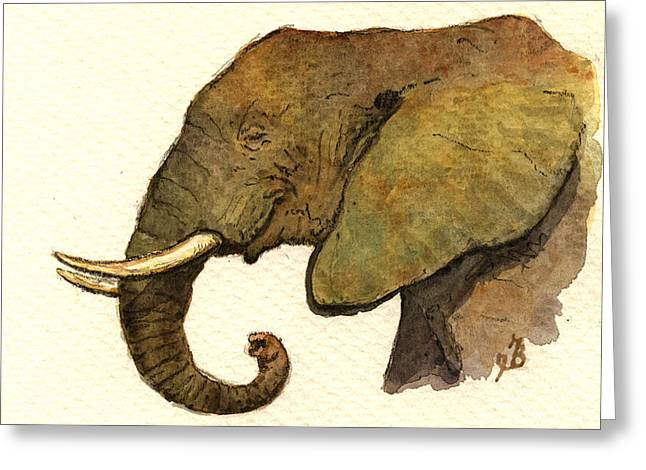 African Elephant Head Greeting Card by Juan  Bosco