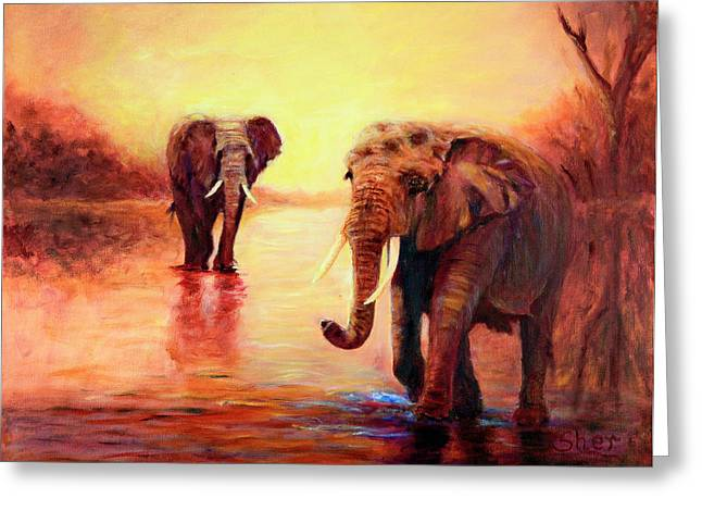 Greeting Card featuring the painting African Elephants At Sunset In The Serengeti by Sher Nasser