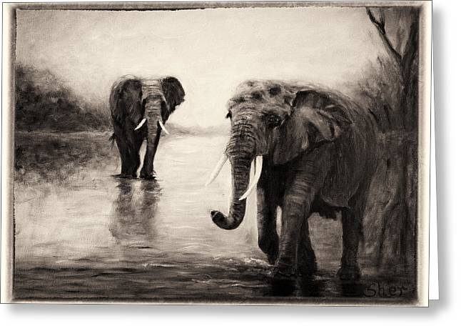 African Elephants At Sunset Greeting Card by Sher Nasser