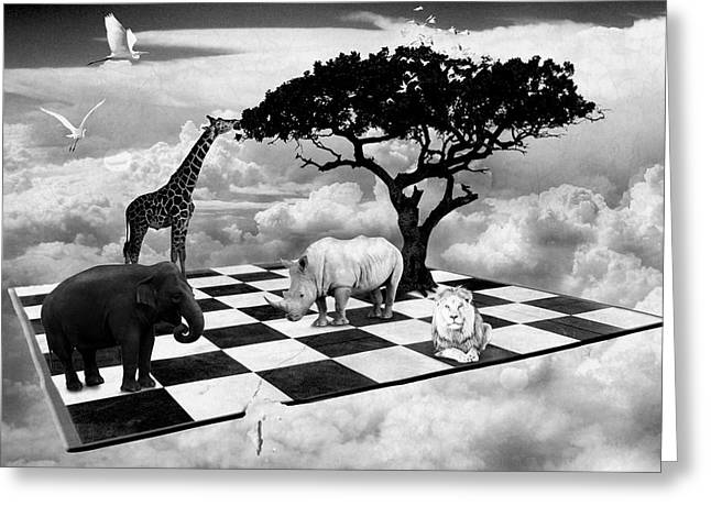 Greeting Card featuring the digital art African Game Of Equality by Mariella Wassing