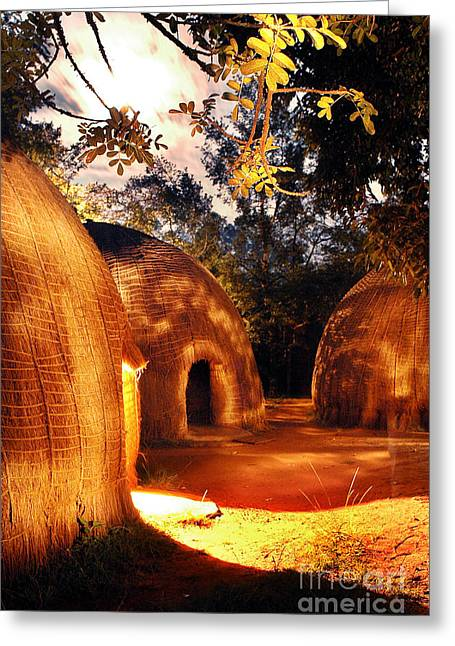 Greeting Card featuring the photograph African Grass Huts by Michael Edwards
