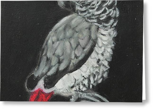 Greeting Card featuring the painting African Grey by Jeanne Fischer
