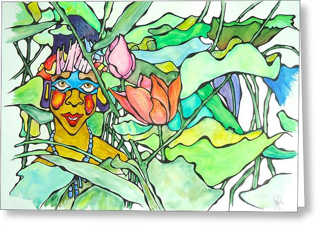 African Lady In Leaves Greeting Card by Glenn Calloway