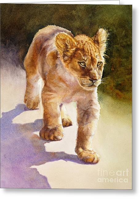 Greeting Card featuring the painting African Lion Cub by Bonnie Rinier