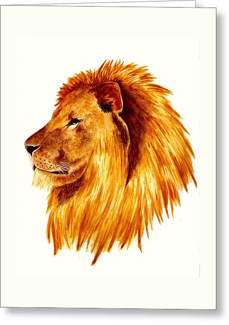 African Male Lion Greeting Card by Michael Vigliotti