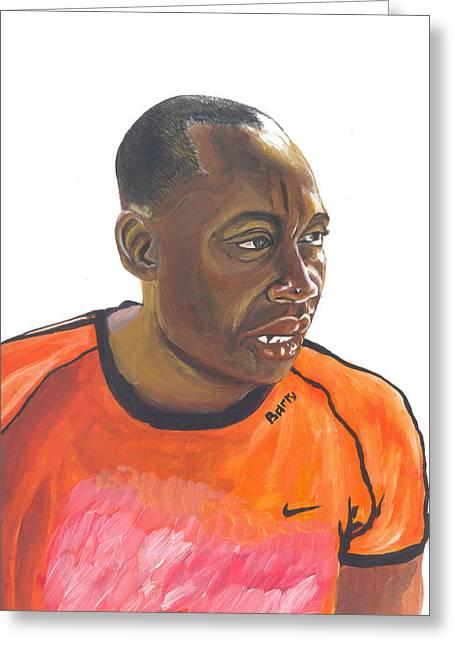 African Man Greeting Card by Emmanuel Baliyanga