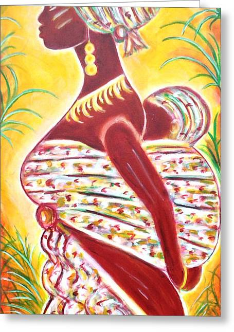Greeting Card featuring the painting African Mother And Baby by Anya Heller