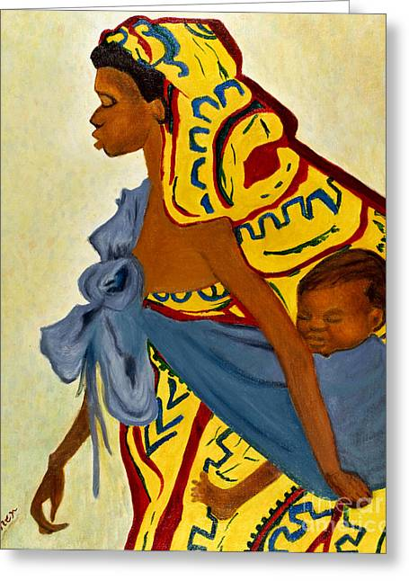 Greeting Card featuring the painting African Mother And Child by Sher Nasser