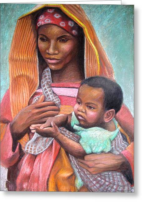 African Mother Greeting Card by Janet McGrath