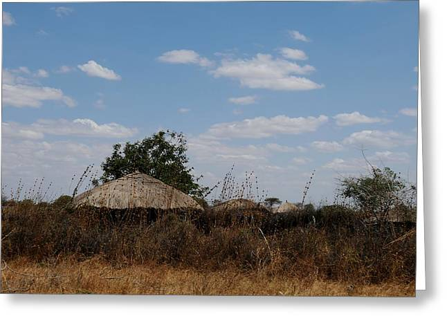African Series Masai Hut Greeting Card by Katherine Green