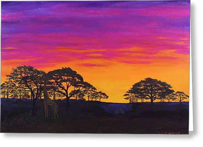 Greeting Card featuring the painting African Sky by Janet Greer Sammons