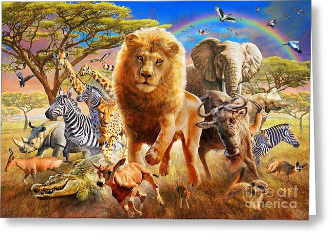 African Stampede Greeting Card by Adrian Chesterman