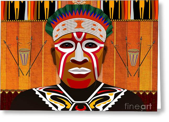 African Tribesman 3 Greeting Card by Bedros Awak